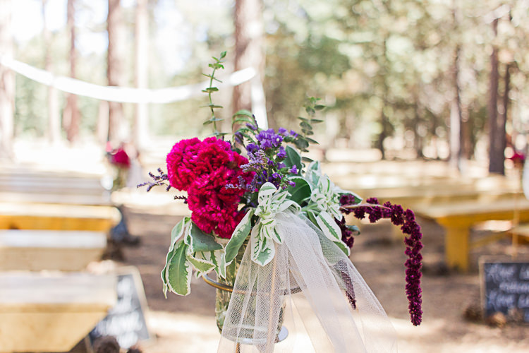 Outdoor Ceremony Multicoloured Flowers Glass Vase DIY Whimsical Camp Wedding California http://www.landbphotography.org/