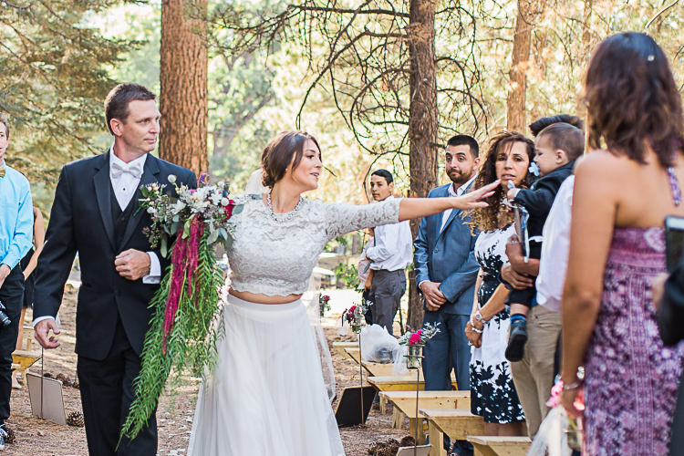 Outdoor Ceremony Bride Watters Separates Lace Top Tulle Skirt Veil Cascading Multicoloured Bouquet Father Son Pageboy Guests DIY Whimsical Camp Wedding California http://www.landbphotography.org/