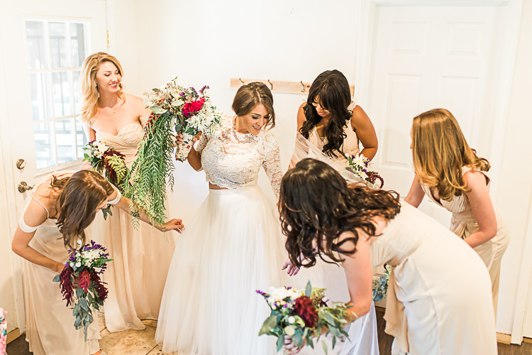 Bride Watters Separates Lace Top Tulle Skirt Veil Statement Necklace Cascading Multicoloured Bouquet Bridesmaids Ivory Dresses Different Styles Multicoloured Bouquets DIY Whimsical Camp Wedding California http://www.landbphotography.org/
