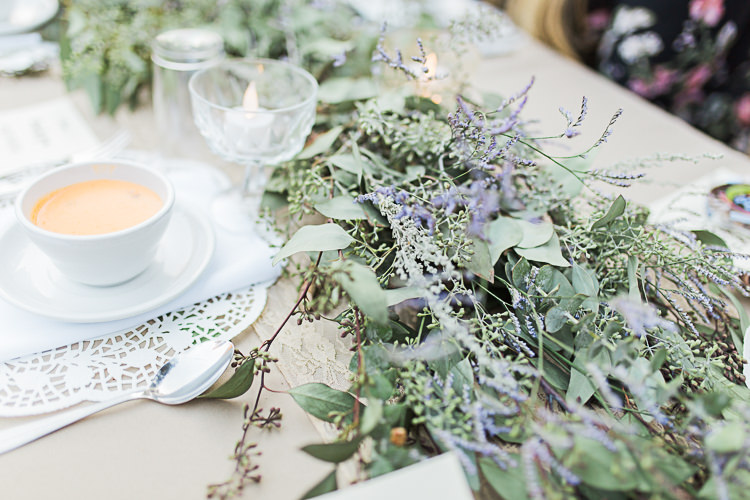 Reception Table Setting Greenery Lavender Tea Cup Tealight Candles Glass Vases DIY Whimsical Camp Wedding California http://www.landbphotography.org/