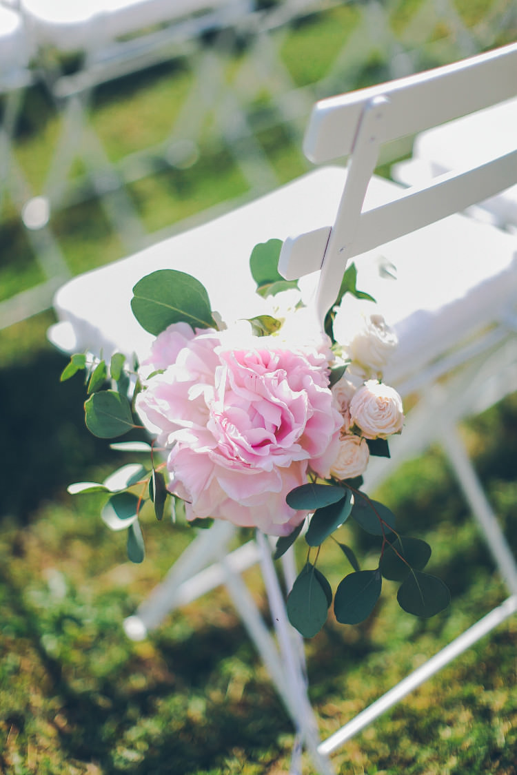 Outdoor Ceremony White Chairs Pink Florals Peonies Greenery Beautiful Pink Blue Tuscany Villa Wedding http://www.chloemurdochphotography.com/