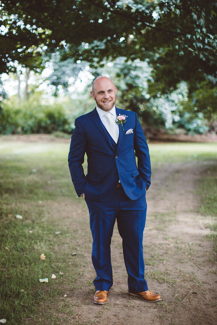 Ted Baker Blue Navy Suit Tan Shoes Groom Cotswolds Country House Marquee Wedding http://www.wearegatheredheretoday.com/