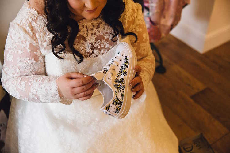 Custom Converse Shoes Trainers Bees Sweet Quirky Yellow Antique Wedding https://www.redonblonde.com/