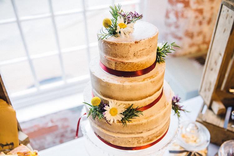 Naked Cake Layer Sponge Buttercream Flowers Ribbon Sweet Quirky Yellow Antique Wedding https://www.redonblonde.com/
