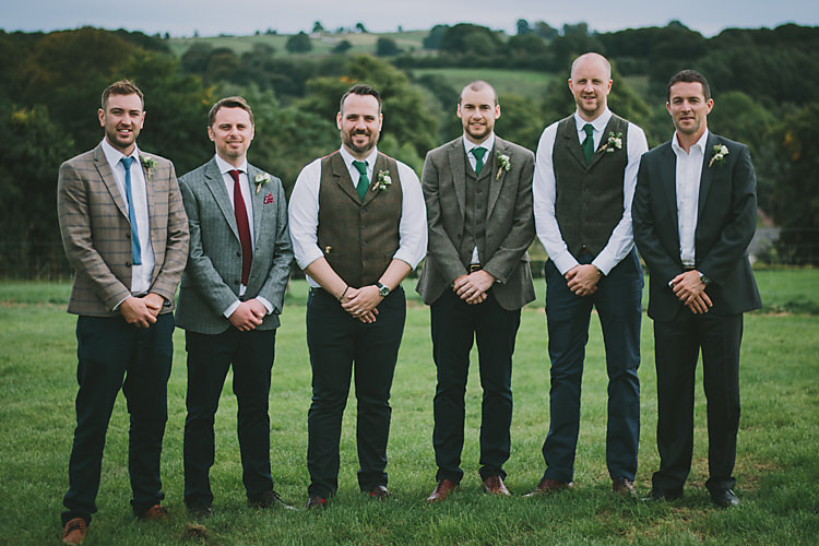 Mismatched Tweed Groomsmen Lovely Greenery Farm Tipi Wedding http://www.victoriasomersethowphotography.co.uk/