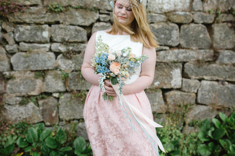 Bridesmaid Bouquet Ribbon Peach Blue Pretty Whimsical Pastel Travel Wedding https://www.thegibsonsphotography.co.uk/