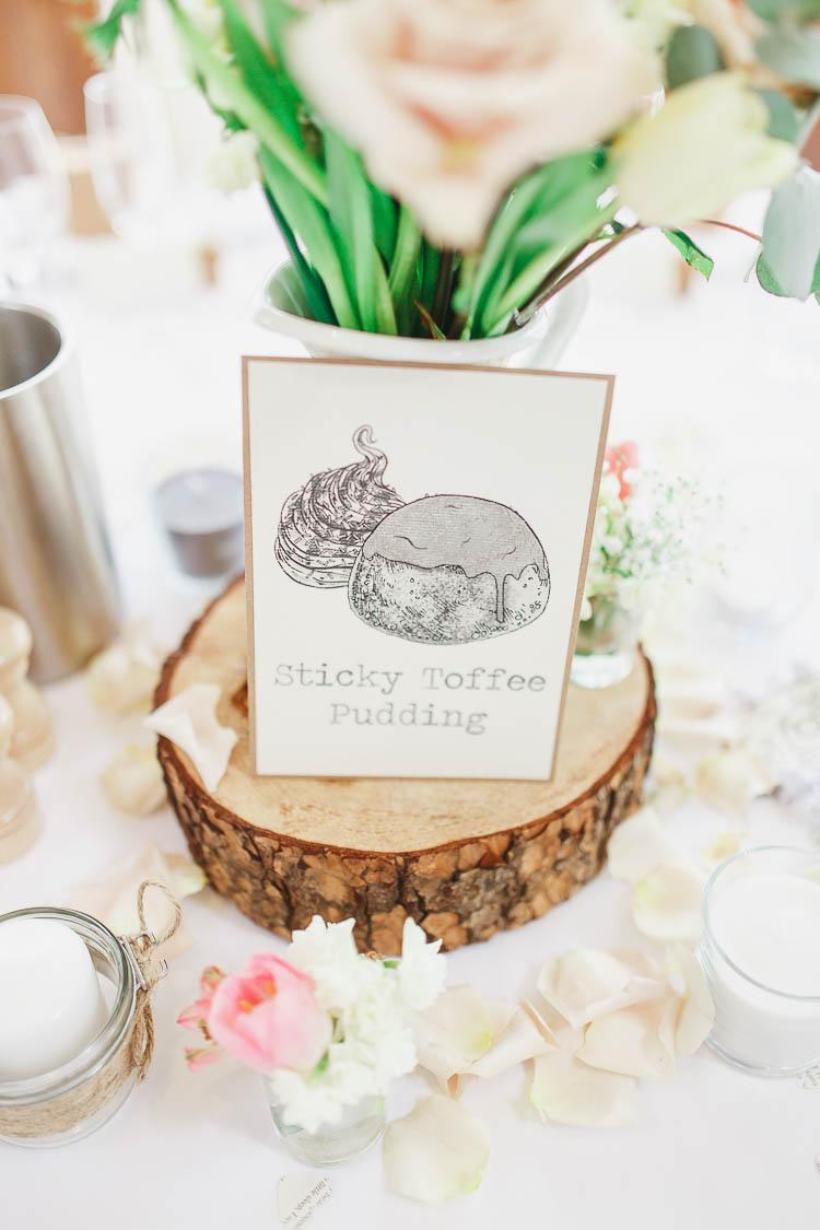 Table Names Food Beautiful Rustic Fairy Lights Barn Wedding http://whitestagweddings.com/