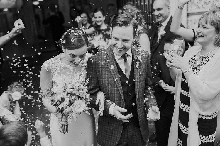 Confetti Throw Bride Groom Stylish Hand Made Rainy Summer Barn Wedding http://www.kategrayphotography.com/
