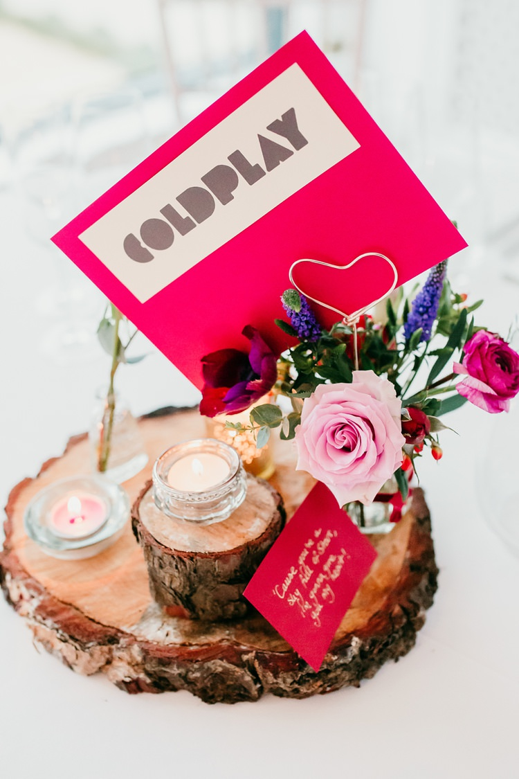 Table Centre Wood Slice Band Name Rose Candle Jar Fun Colourful Modern Music Wedding http://hollycollingsphotography.com/