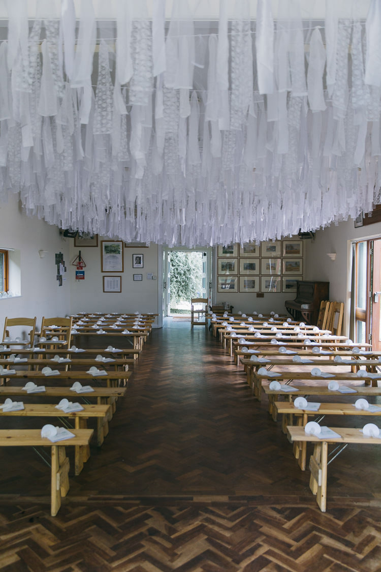 Fabric Rag Bunting Ceremony Decoration Hall Parquee Creative Cool Bohemian Harbourside Wedding http://carohutchings.com/
