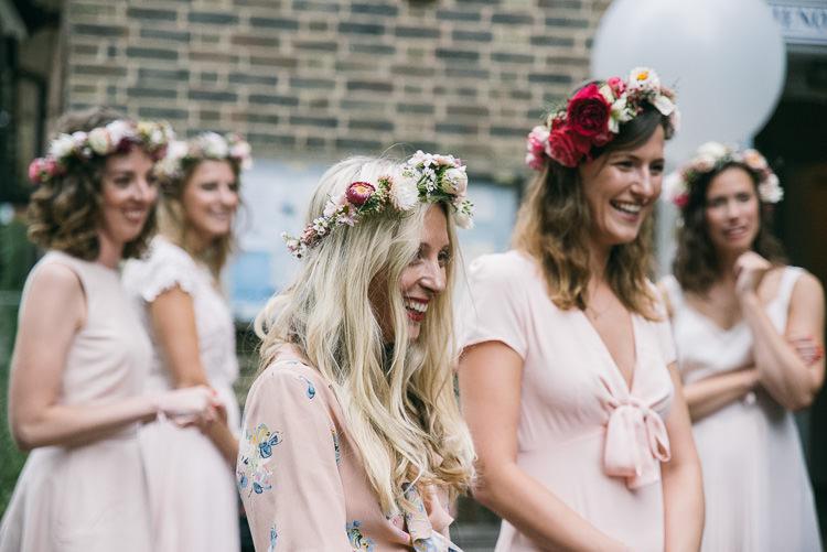 Bridesmaids Flower Crowns Creative Cool Bohemian Harbourside Wedding http://carohutchings.com/