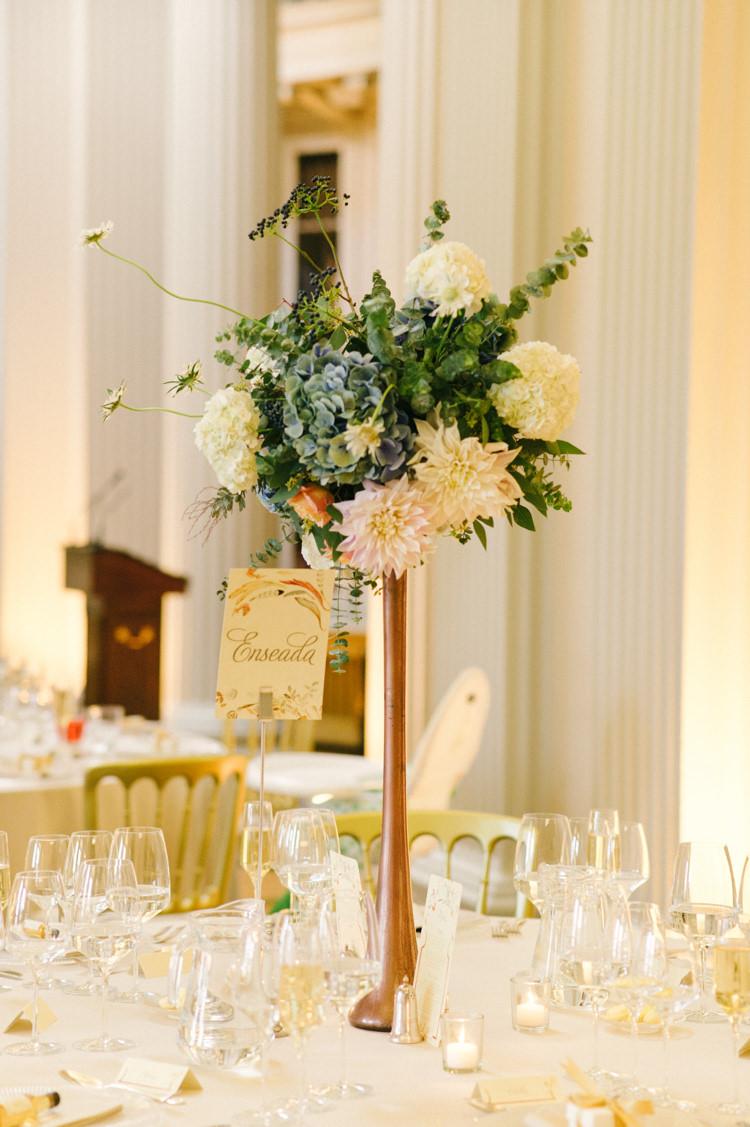 Tall Flower Centrepiece Table Dahliah Blush Opulent Metallics City Library Wedding http://www.croandkowlove.com/
