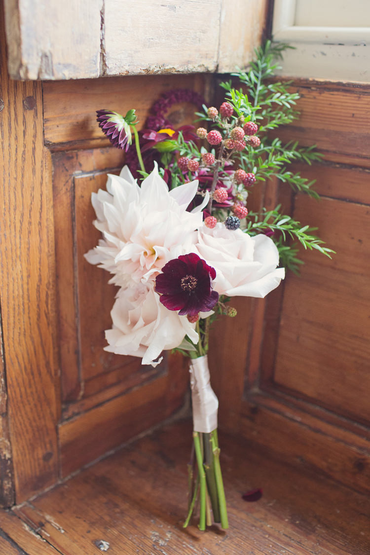Red Burgundy Dahlia Blush Bouquet Flowers Bridesmaid Berries Foliage Rose Antler Feather Stunning Countryside Wedding http://www.cottoncandyweddings.co.uk/