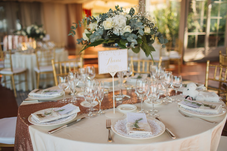 Table Centre Name Rose Gold Sequin Runner White Flowers Florals Greenery Rosemary Elegant Stylish Sorrento Destination Wedding http://www.francessales.co.uk/