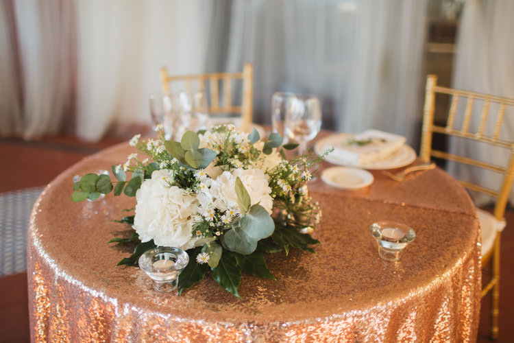 Sweetheart Table Rose Gold Sequin Cloth Flowers Floral White Greenery Elegant Stylish Sorrento Destination Wedding http://www.francessales.co.uk/