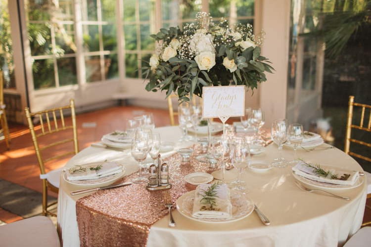Table Centre Rose Gold Sequin Table Runner Cloth Linen White Rose Gypsophila GreeneryElegant Stylish Sorrento Destination Wedding http://www.francessales.co.uk/