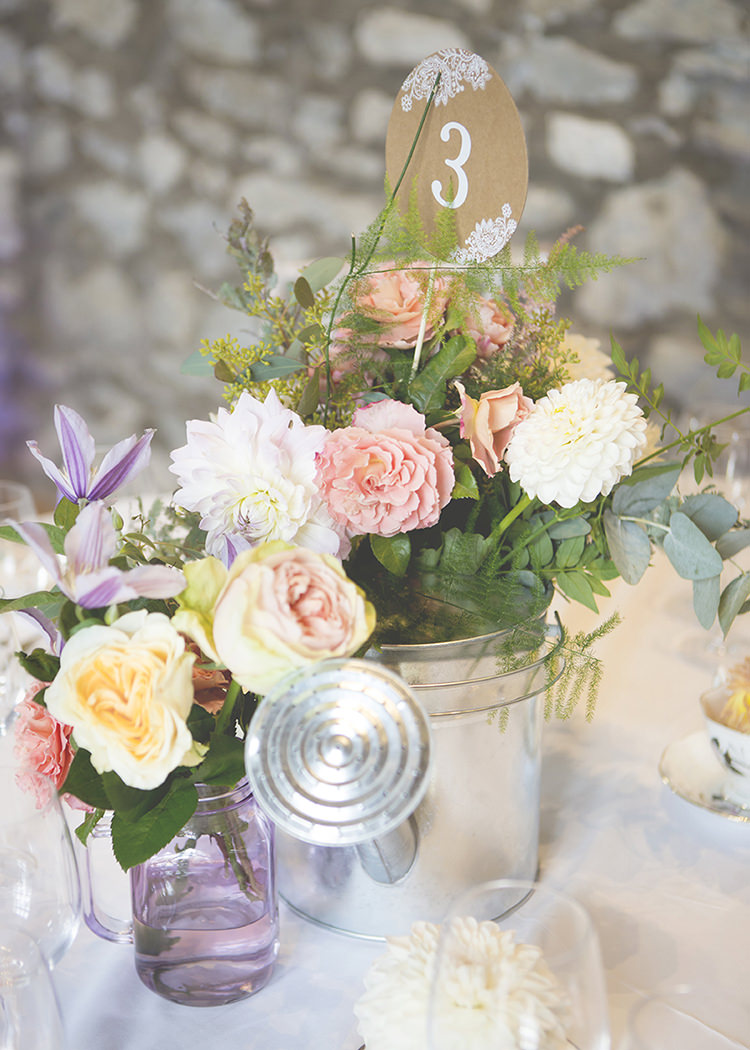 Table Number Floral Container Dahlia Rose Pastel Pretty Flower Garden Style Wedding http://katrinamatthewsphotography.co.uk/