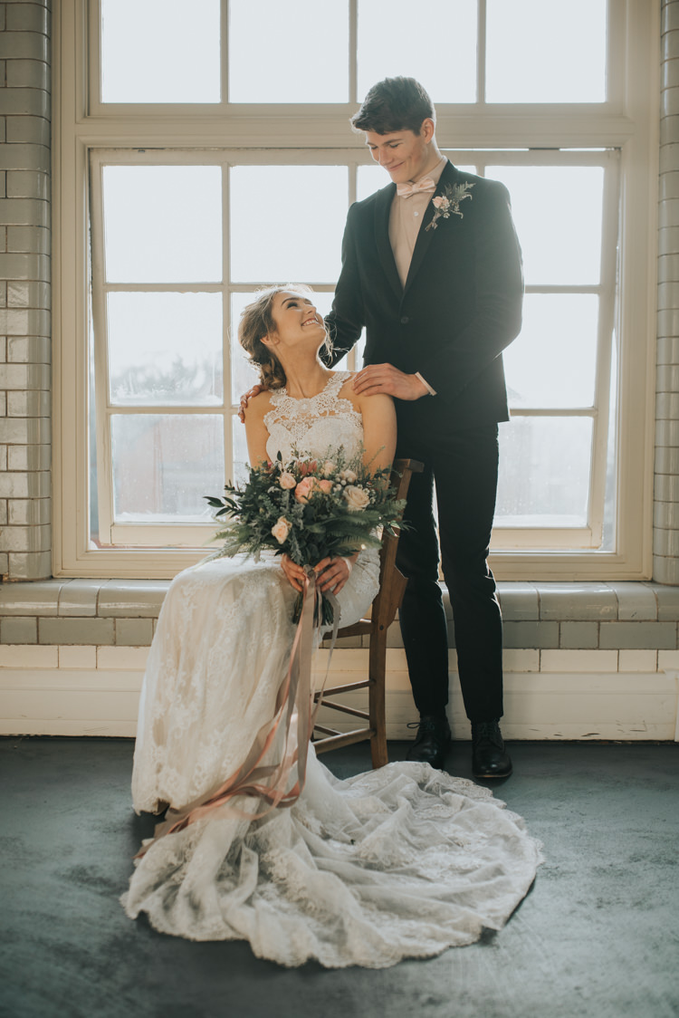 Groom Black Suit Pink Bow Tie Outfit Style Industrial Into The Wild Greenery Wedding Ideas http://www.ivoryfayre.com/