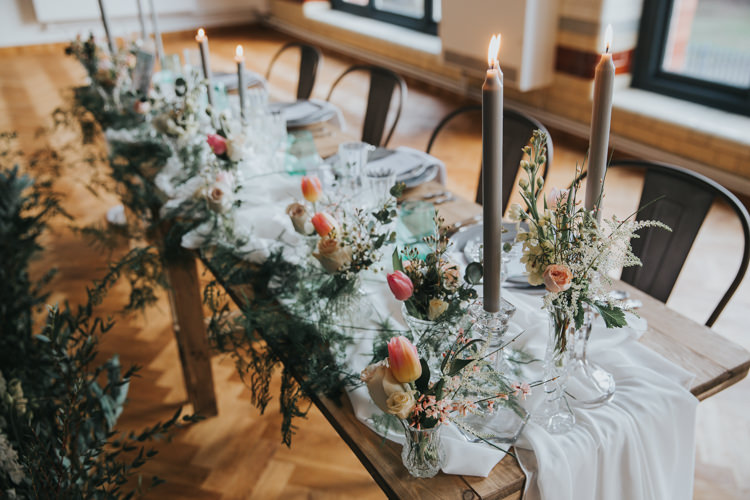 Tablescape Decor Flowers Fabric Silk Cloth Runner Candles Industrial Into The Wild Greenery Wedding Ideas http://www.ivoryfayre.com/