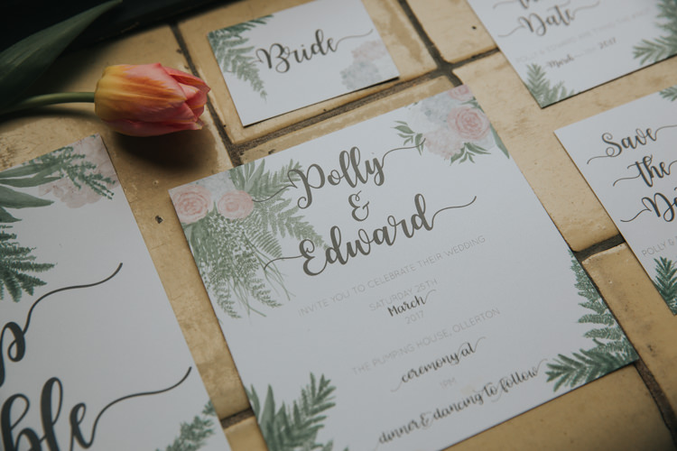 Botanical Stationery Invitation Place Card Menu Setting Paper Industrial Into The Wild Greenery Wedding Ideas http://www.ivoryfayre.com/