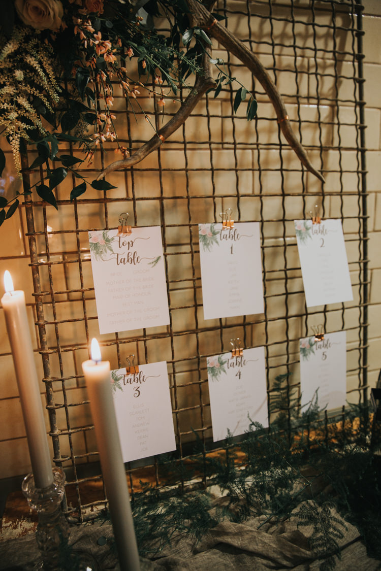 Wire Metal Seating Plan Table Chart Industrial Into The Wild Greenery Wedding Ideas http://www.ivoryfayre.com/
