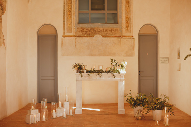 Fireplace Decor Candles Flowers Church Ceremony Beautifully Intimate Open Air Wedding Umbria http://www.edpeers.com/