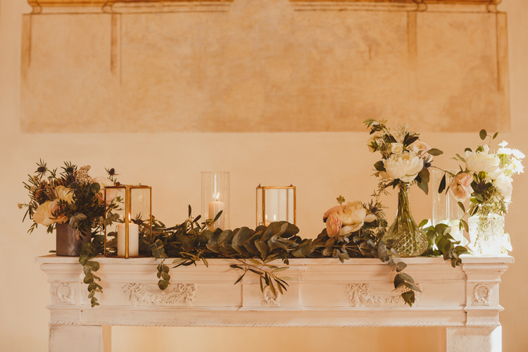 Fireplace Decor Flowers Candles Church Ceremony Beautifully Intimate Open Air Wedding Umbria http://www.edpeers.com/