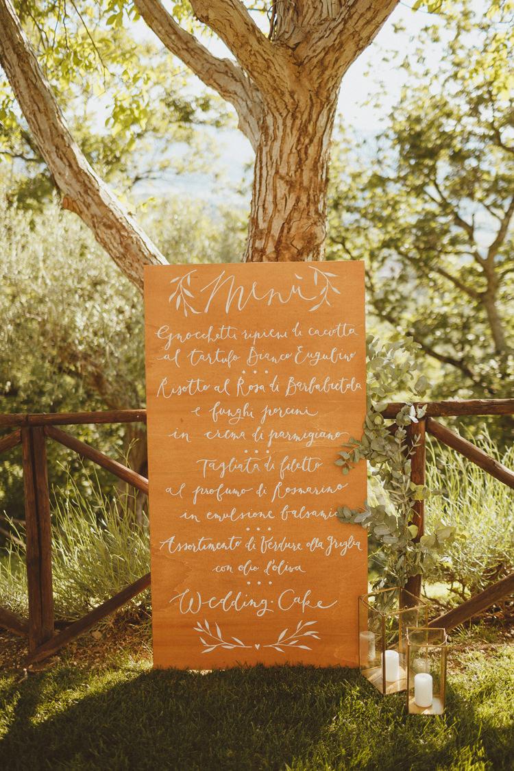 Wooden Calligraphy Menu Beautifully Intimate Open Air Wedding Umbria http://www.edpeers.com/