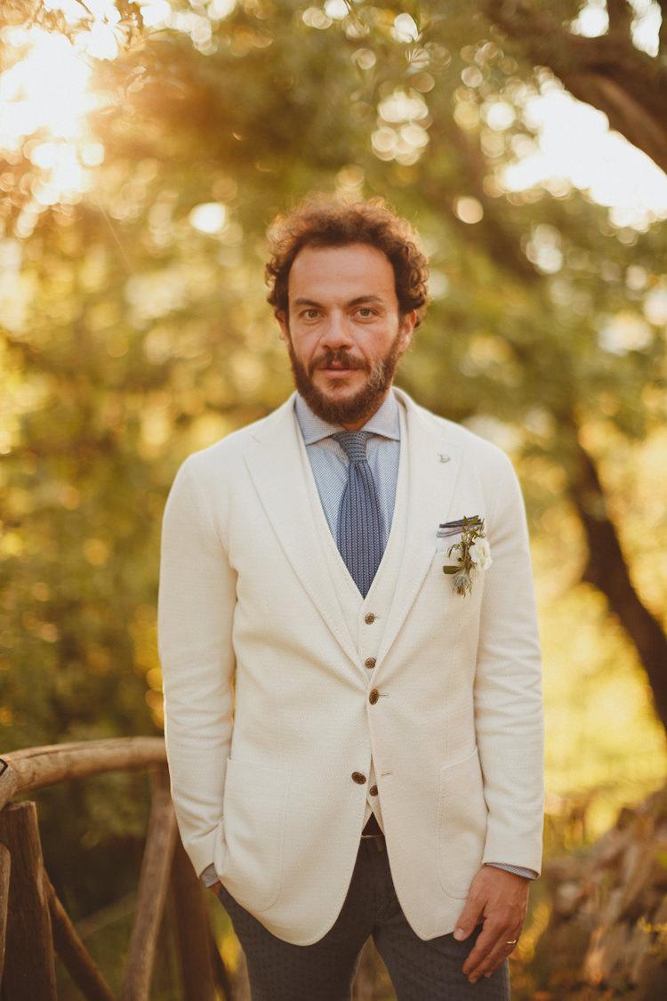 Cream Jacket Waistcoat Groom Style Beautifully Intimate Open Air Wedding Umbria http://www.edpeers.com/
