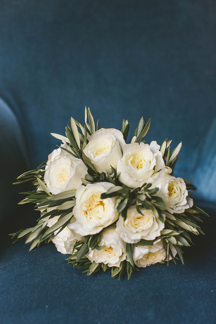 Bride Bridal Bouquet White Rose Olive Greenery Natural Romantic Chateau Destination Wedding South of France http://www.jayrowden.com/