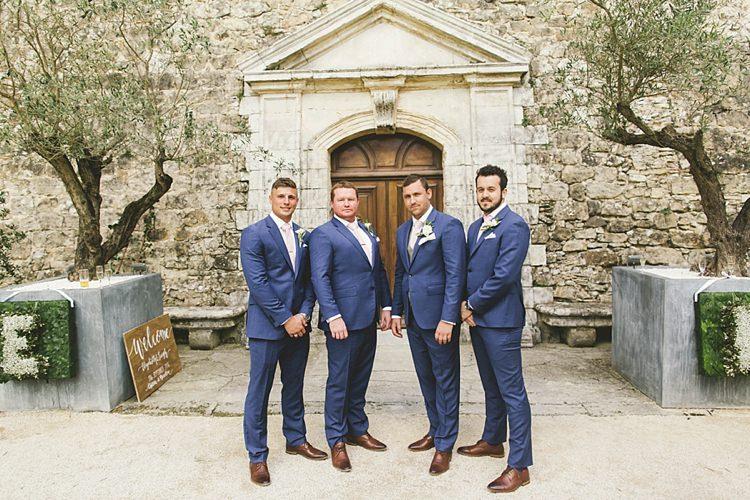 Groom Groomsmen TM Lewin Brown Brogues Blue Natural Romantic Chateau Destination Wedding South of France http://www.jayrowden.com/