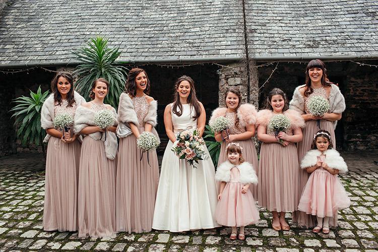 Dusky Pink Long Bridesmaid Dresses Stylish Winter Glamour Wedding http://lunaweddings.co.uk/