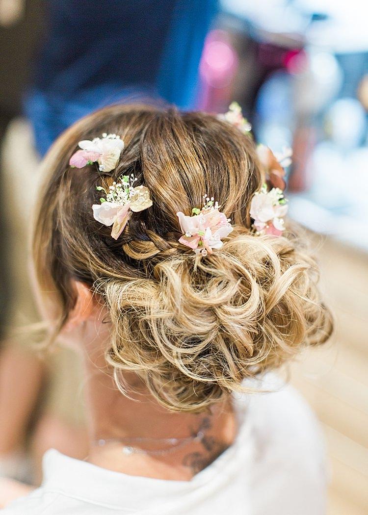 Bride Bridal Hair Floral Bun Romantic Soft Pastels Barn Wedding http://www.sungblue.com/