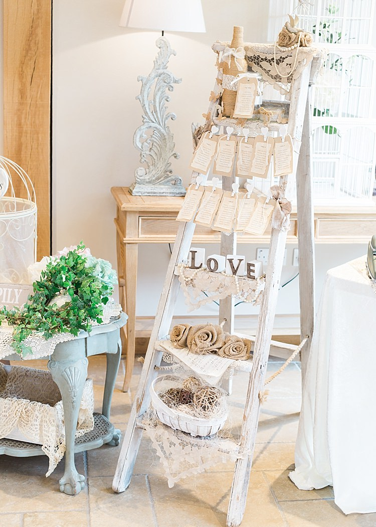 Rustic Seating Plan Table Chart Stepladder Decoration Romantic Soft Pastels Barn Wedding http://www.sungblue.com/