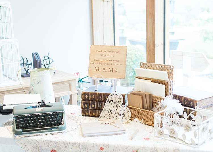 Card Table Rustic Typewriter Guest Book Prop Romantic Soft Pastels Barn Wedding http://www.sungblue.com/