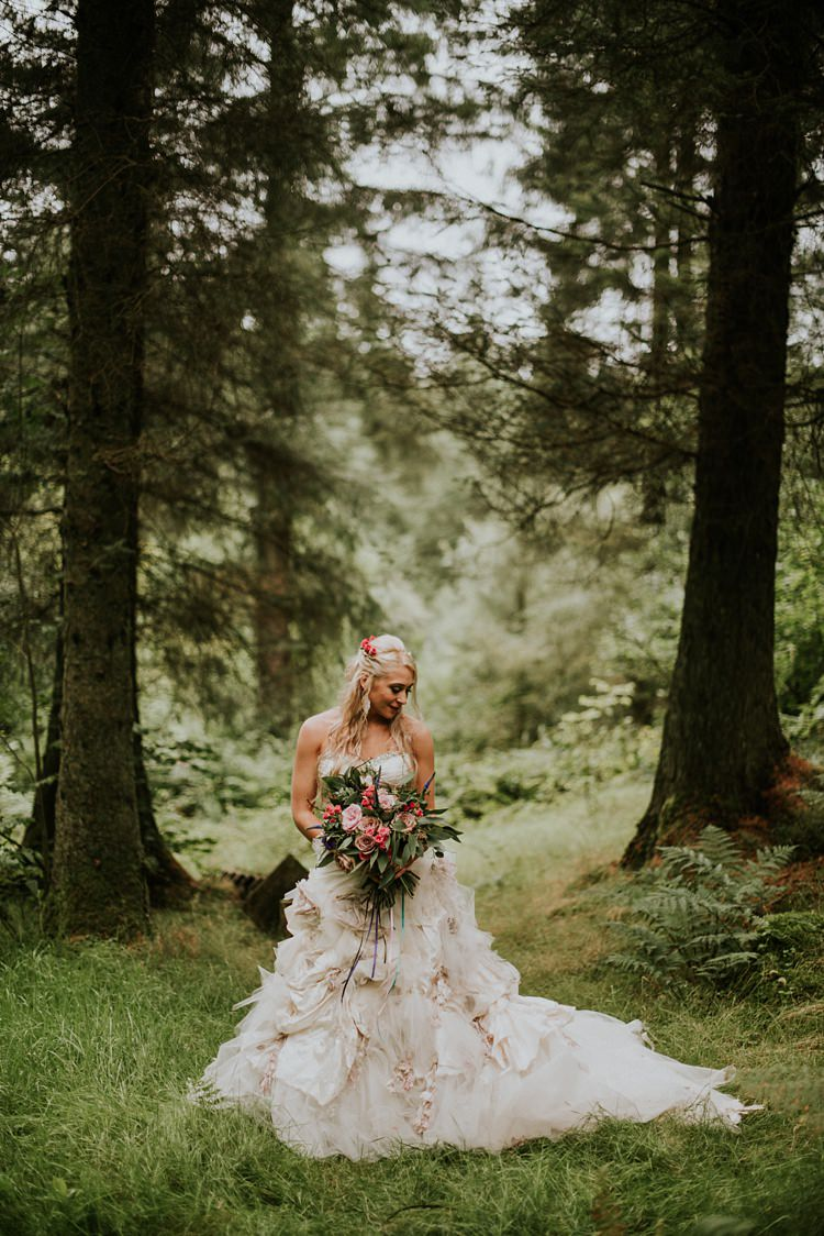 Flowerbomb Ian Stuart Dress Gown Bride Bridal Flowers Ruffles Creative Woodland Mad Hatters Tea Party Wedding https://www.clairefleckphotography.com/