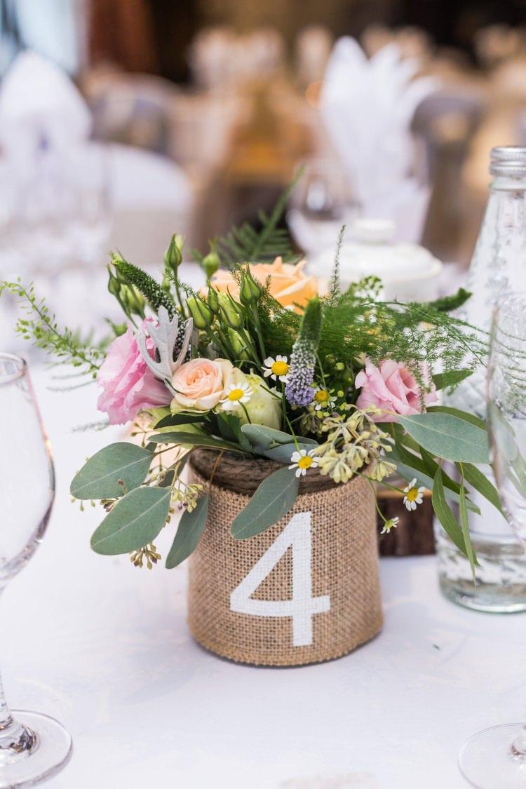 Table Number Centre Rose Eucalyptus Daisy Fern Hessian Jar Pretty Quirky Pastel Wedding http://www.happilyevercaptured.com/