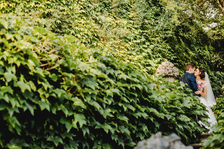 Outdoors Bride Groom Kiss Romantic Vibrant Pink Wedding Trieste http://www.emotionttl.com/en/home/