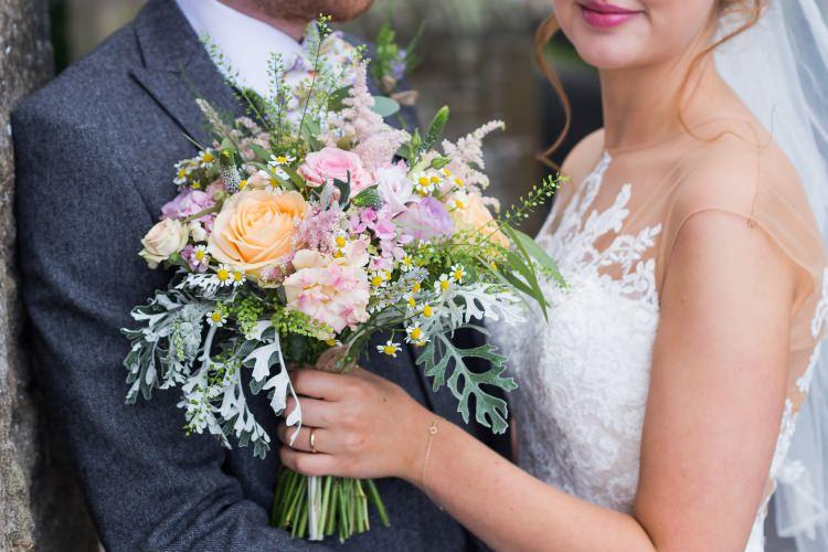Bride Bridal Pronovias Lace Illusion Next Groom Bouquet Rose Pretty Quirky Pastel Wedding http://www.happilyevercaptured.com/