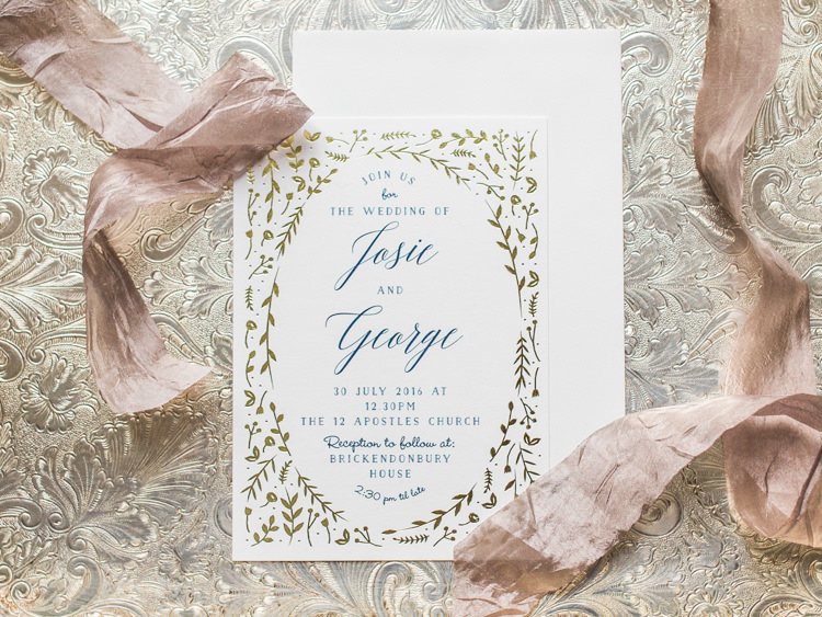 Gold Floral Stationery Invitations Invite Whimsical Luxury Summer Garden Party Wedding https://www.wookiephotography.com/