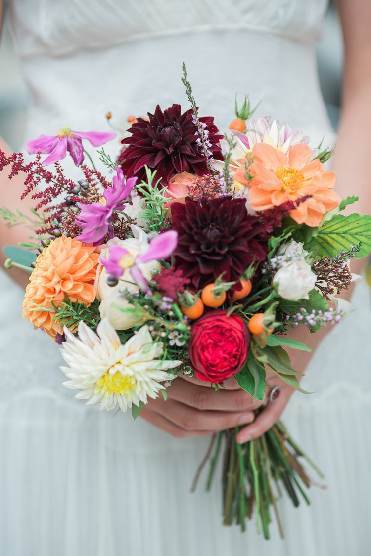 Bouquet Flowers Autumn Dahlias Roses Astilbe Red Pink Orange Intimate Elegant Two Day City Wedding http://siobhanhphotography.com/