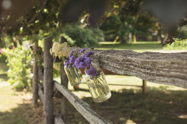 Jar Flowers Outdoors Casual Country Farm Wedding Ontario https://tiedphotography.com/
