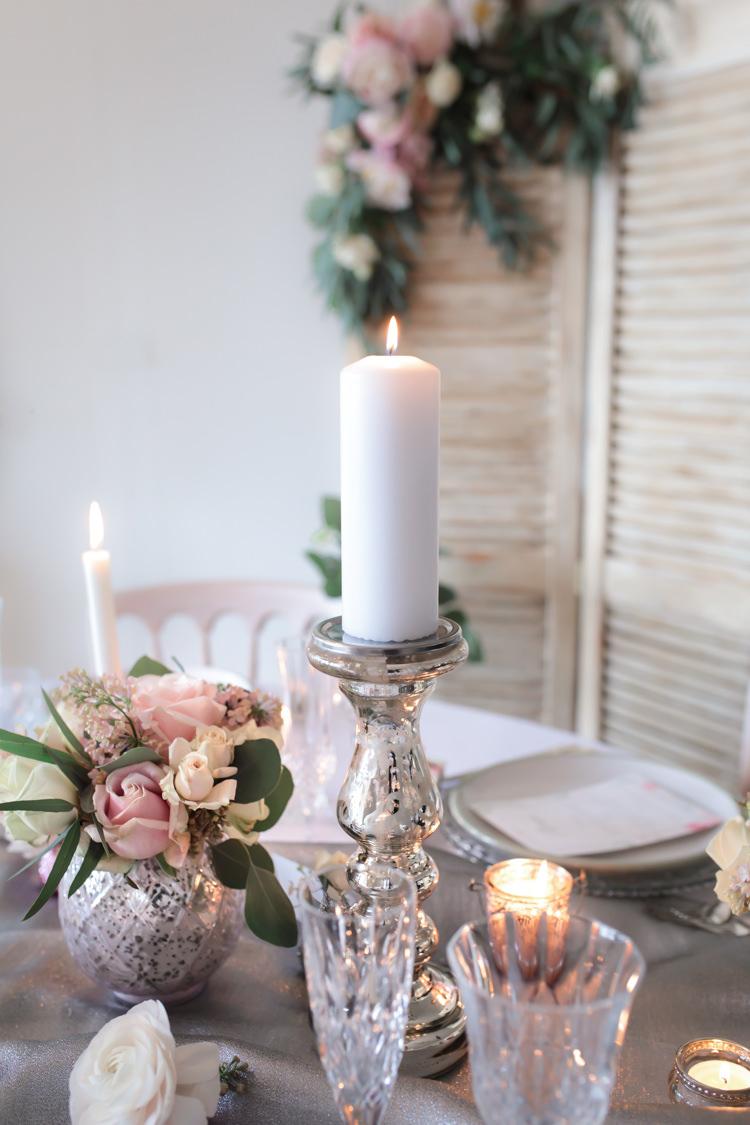 Candle Flowers Glasswear Decor Centrepiece Pretty Soft Country Garden Pastel Wedding Ideas https://www.ellielouphotography.co.uk/