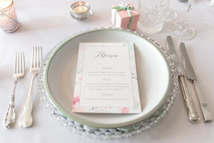 Place Setting Menu Pretty Soft Country Garden Pastel Wedding Ideas https://www.ellielouphotography.co.uk/