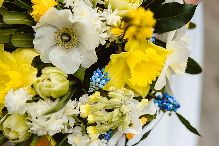 Flowers Bouquet Daffodils Hyacinth Yellow Spring Bride Bridal Beautiful Countryside Wedding Ideas Inspiration http://www.georginabrewster.com/