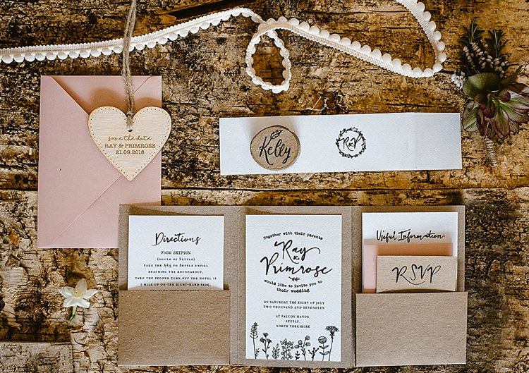 Stationery Invites Invitations Suite Pocketfold Booklet Wooden Kraft Brown Illustrated Beautiful Countryside Wedding Ideas Inspiration http://www.georginabrewster.com/