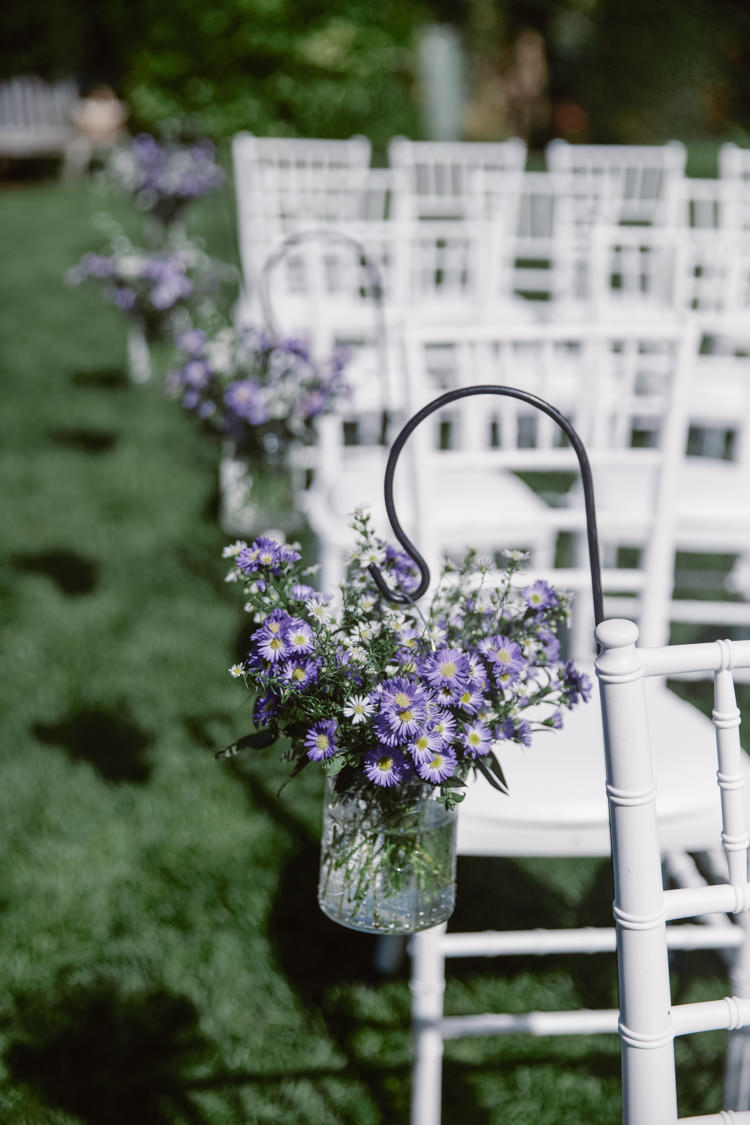 Sheppard Hook Ceremony Aisle Flowers Jars Pew End Pretty Purple Pastels Country Wedding http://www.nataliejweddings.com/