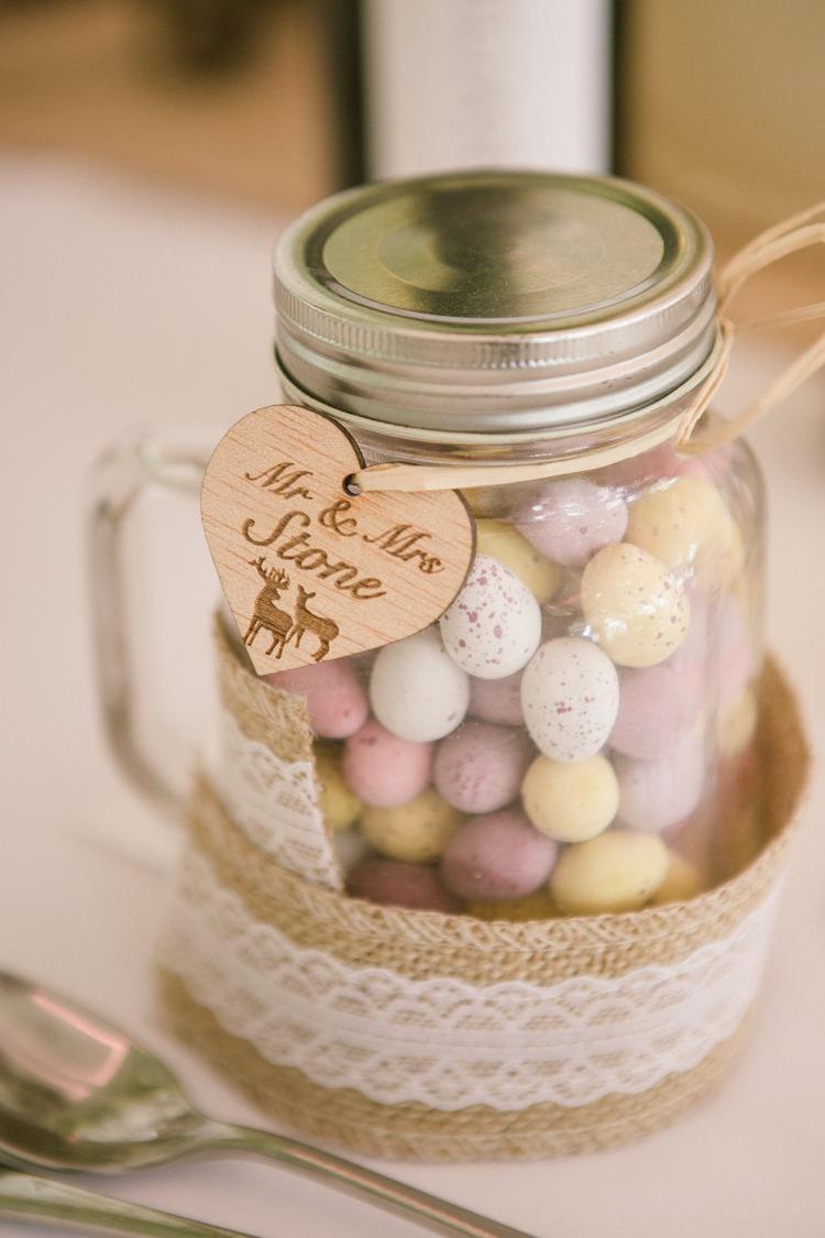 Mini Eggs Favour Wood Tag Laser Cut Hessian Lace Easter Spring Woodland Wedding http://emmastonerweddings.com/