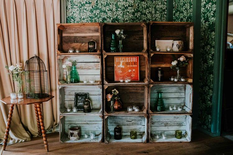 Props Bird Cage Crates Record Bottles Jars Candles Details Decor Dreamy Blush Floral Wonderland Wedding http://www.stevebridgwoodphotography.co.uk/
