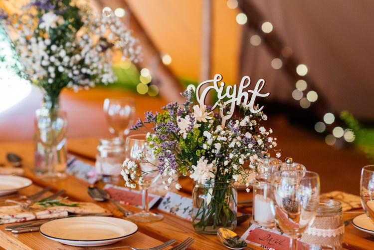 Table Decor Centrepieces Flowers Jar Fun Loving Secret Garden Tipi Wedding https://www.aaroncollettphotography.co.uk/